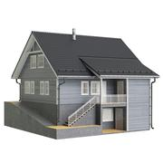 House cottage wooden facade - stock illustration