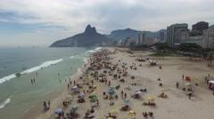 Stock Video Footage of Aerial View of Crowd of People Ipanema Beach, Rio de Janeiro, Brazil