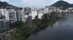 Aerial view of Rodrigo de Freitas Lake in Rio de Janeiro, Brazil. Stock Footage