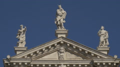 Three statues on Chiesa di San Moisè in Venice Stock Footage