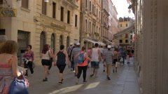 Stock Video Footage of Many tourists walking close to Europa & Regina Hotel in Venice
