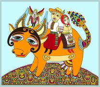 authentic ukrainian traditional painting men and women ride on a - stock illustration