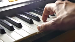 Stock Video Footage of music playing man hand synthesizer piano run over keys