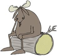 Depressed bull moose - stock illustration