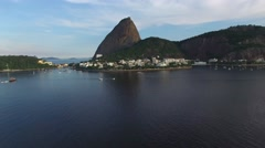 Stock Video Footage of Aerial view of Sugarloaf Mountain in Rio de Janeiro, Brazil.