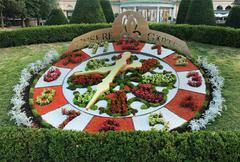 Famous decorative flower clock in Vienna Stadtpark - stock photo