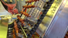 close up,new sytle grill machine,roasted meat in guangzhou,china - stock footage