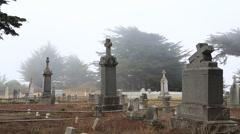 Stock Video Footage of Foggy eerie cemetery