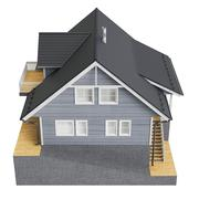 House cottage, top view - stock illustration