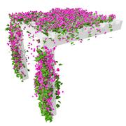 Ivy with pink flowers, top view - stock illustration