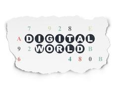 Stock Illustration of Data concept: Digital World on Torn Paper background