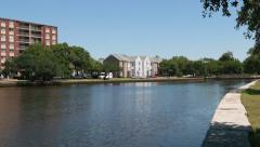 Waterfront Apartments (Pan Right to Left) Stock Footage