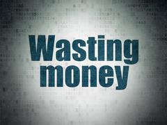 Currency concept: Wasting Money on Digital Paper background - stock illustration