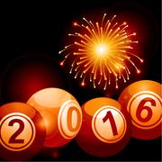 Bingo lottery balls 2016 and fireworks Piirros