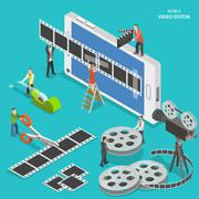 Mobile video editor flat isometric vector concept. Stock Illustration
