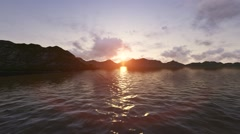 Sunset Between Mountains Rainbow Light Reflaction in Ocean Water Stock Footage
