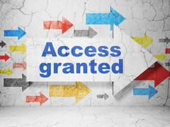 Security concept: arrow with Access Granted on grunge wall background - stock illustration