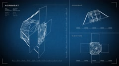 Looping, animated orthographic engineering blueprint of AcrimSat spacecraft.  Stock Footage