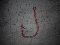 Stock Illustration of Protection concept: Fishing Hook on grunge wall background