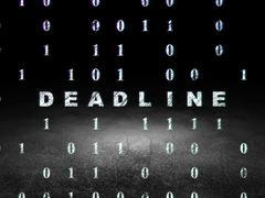 Stock Illustration of Business concept: Deadline in grunge dark room