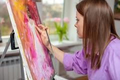Creative artist for drawing in the studio - stock photo