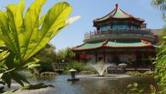 Asian Pagoda and Fountain Stock Footage
