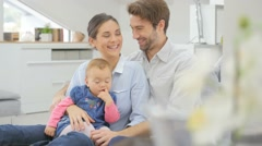 Portrait of happy family at home - stock footage