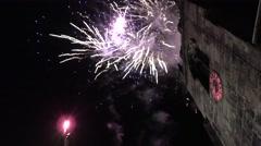 Fireworks church tower celebration Stock Footage