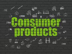 Finance concept: Consumer Products on wall background - stock illustration