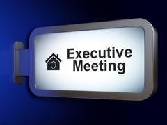 Business concept: Executive Meeting and Home on billboard background Stock Illustration