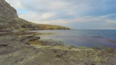 Amazing day to night timelapse of beautiful seascape, stony shore, clear water Stock Footage