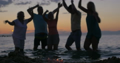 New Year celebration on the beach Stock Footage