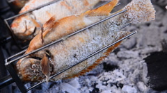 Grilled Fish Rotating ,Chiang Mai Thailand Stock Footage