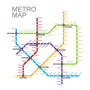 metro or subway map design - stock illustration