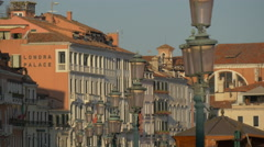 Row of old lamp posts in Venice Stock Footage