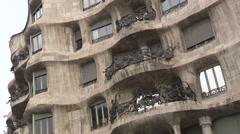 Casa Milà aka La Pedrera in Barcelona (facade) Stock Footage