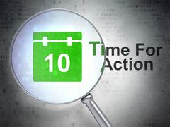 Stock Illustration of Time concept: Calendar and Time For Action with optical glass