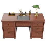 Desk written with lamp, top view - stock illustration