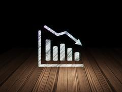 Marketing concept: Decline Graph in grunge dark room - stock illustration
