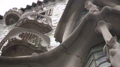 Casa Batlló in Barcelona (facade, low angle) Stock Footage