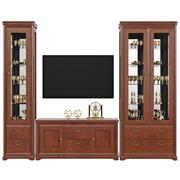 Sideboard with utensils dresser and TV, front view - stock illustration