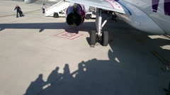 Shadows of people entering aircraft cabin before departure. Booking tickets Stock Footage