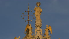 Saint with halo and angels statues on Basilica di San Marco,  Venice Stock Footage
