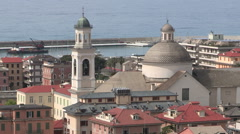 The port and the city center of Chiavari from elevated views Stock Footage