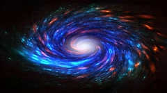 Galaxy Night Stars Glowing Colorful Spiral Orbit Motion in The Space Stock Footage