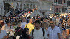Many tourists walking close to Palazzo Ducale, Venice Stock Footage