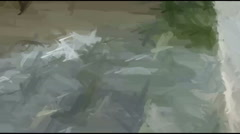 Live Painting.Rising Sea Water Splashes Steps Stock Footage