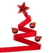 Stock Photo of Ribbon christmas tree isolated