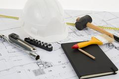 Construction architectural design and project drawings. - stock photo