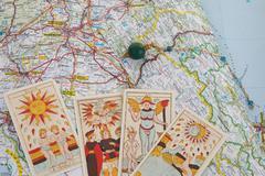 Photo of magic pendulum and tarot cards Stock Photos